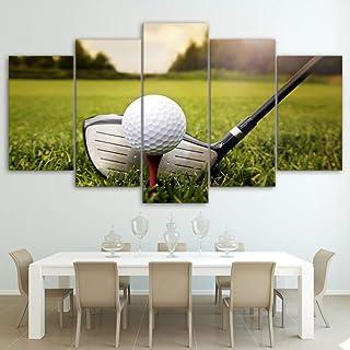 HIOJDWA Pinturas Moderno Lienzo de Pared Cartel de Arte 5 Piezas Campo de Golf Pintura Modular Pictures Home Decor HD Impreso Green Land Photo Frame