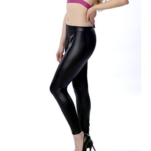 4a712d0273ff4e Timbre Black Skinny Fit Streachable Lightweight Faux Leather Leggings