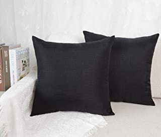 4TH Emotion Set of 2 Black Slub Textured Cotton Linen Throw Pillow Covers Cushion Case for Sofa, 20 x 20 Inches