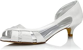 JIAJIA K01115 Women's Bridal Shoes Peep Toe Low Heel Dyeable Satin Pumps Wedding Shoes