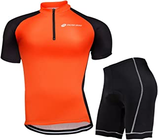 ZEROBIKE Men's Short Sleeve Breathable Cycling Jersey Sports Clothing 3D Padded Shorts Set Full Zip