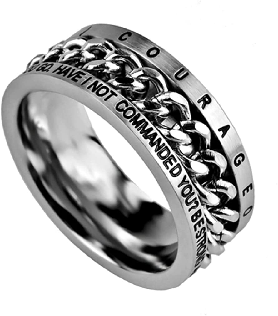North Arrow Shop Joshua 1:9 Ring Courageous Christian Bible Verse, Stainless Steel Spinner Chain