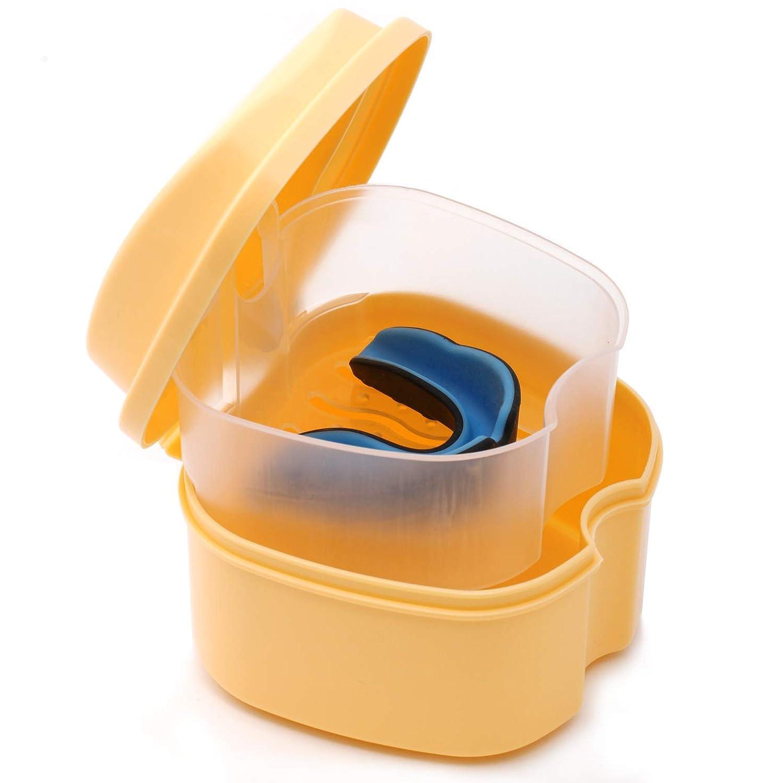 微妙れんがカスタムCoiTek 入れ歯ケース 義歯ケース 携帯 家庭旅行用 ストレーナー付き オレンジ