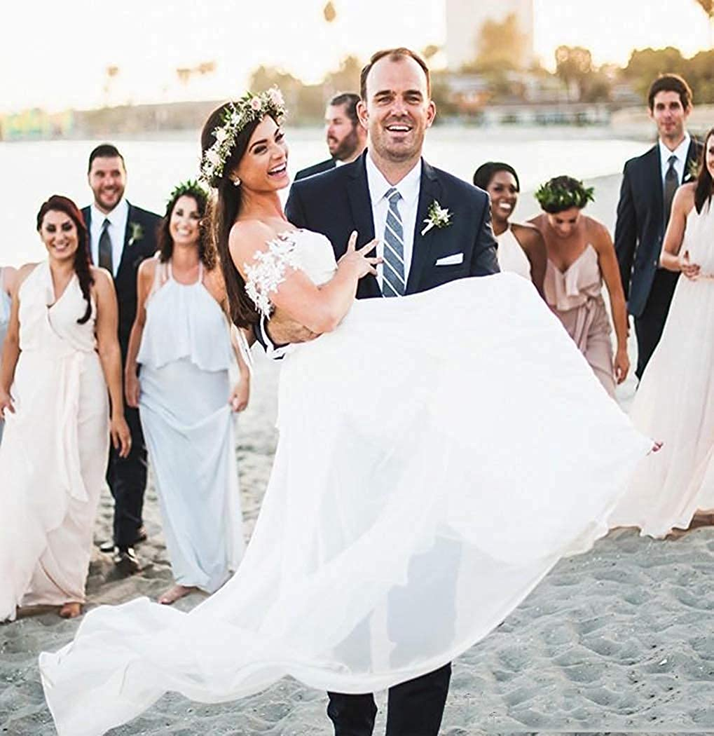 JAEDEN Wedding Dress for Bride Gown Sweetheart Chiffon Beach Bridal Gown Long