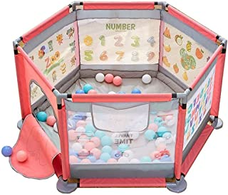 Hfyg Playpens Baby Playpen Portable Playground with Carpet And Balls Playground Barrier for Toddlers pens  Color Pink