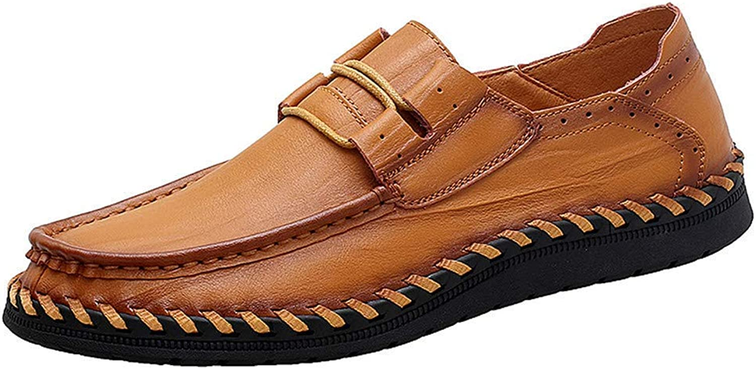ZHRUI Men Sandals Leather shoes Handmade Male Moccasins Casual Slippers (color   Yellow Brown, Size   9=43 EU)