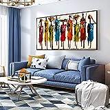 Arte moderno colorido abstracto África mujer impresión imágenes lienzo pintura arte de la pared para la decoración de la sala de estar hogar 60x120cm (24x47in) con marco