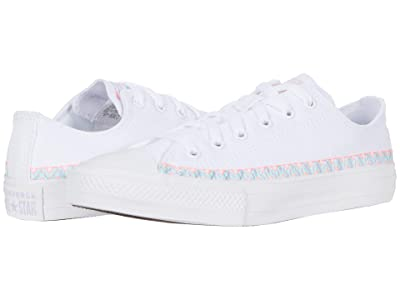 Converse Kids Chuck Taylor(r) All Star(r) Friendship Bracelet Ox (Little Kid/Big Kid) (White/Moonstone Violet/White) Girl
