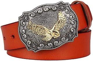 Men'S Belt Male Genuine Leather Belt American West Cowboy Eagle Pin Buckle Cowhide Belt Men Gift