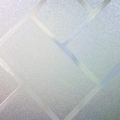 Housolution 2D Pegatinas de Ventana, Adhesivo con Electricida Estática Pegatina Privacidad de Ventana del PVC para Cristal Pelicula Decorativa Electrostática, Enrejado Oblicuo(200 x46 cm)