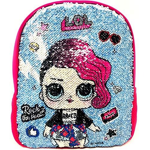 Mochila LOL Surprise Rock Niña Mochila Escolar Rosa Mochila Infantil con Lentejuelas Reversibles Doble Imagen LOL Surprise Rock 30cm