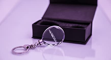 Personalized 3D Engraved Crystal Keychain with Flash Light and a gift box- Business Gifts - 50 Quantity - $6 Each - PROMOTIONAL PRODUCT / BULK / BRANDED with YOUR LOGO / CUSTOMIZED (Green)