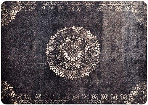 deco-mat Fußmatte Orient Schwarz • Fussmatte Innen Aussen • rutschfest und waschbar • Schmutzfangmatte • Türmatte 50 x 70 cm