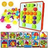 welltop Tablero de Mosaicos Infantiles, Puzzle 3D, Rompecabezas Niños de Uñas Setas, Tablero de Coincidir Colores con 46 Botones y 12 imágenes, Juguete Educativo Temprano para niños y bebés de 3+años