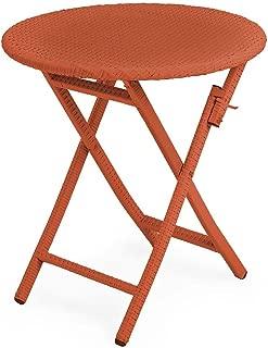 Tangier Wicker Outdoor Furniture Folding Round Bistro Table 28 dia. x 29 H Orange