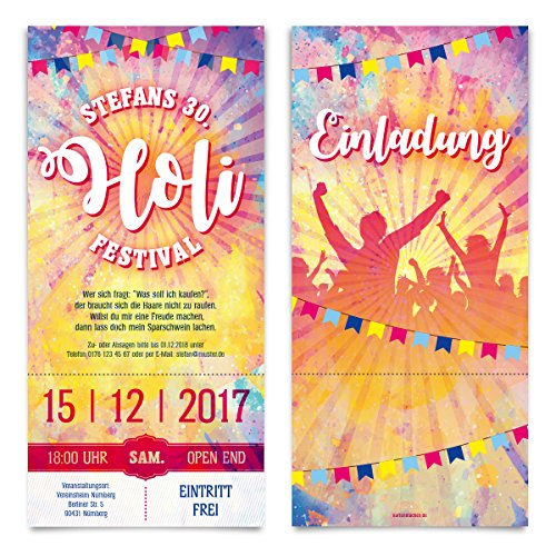 10 x Geburtstag Einladungskarten als Holi Festival Electro Rave Eintrittskarten Ticket Einladungen