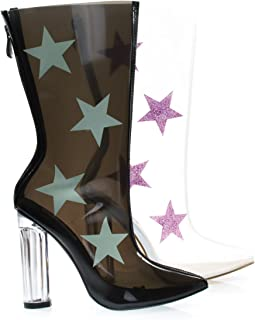 Lucite Clear Transparent Over Ankle Bootie w Chunky Block Heel w Star