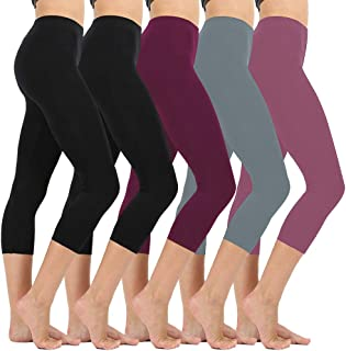 26ed6c07f3 High Waisted Soft Capri Leggings for Women-Tummy Control and Elastic Opaque  Slim-One