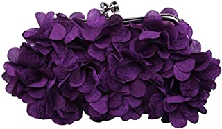 Women's Satin Flower Evening Bag, Fashion Clutch, Suitable for Banquet, Party, Shopping (Color : Purple)