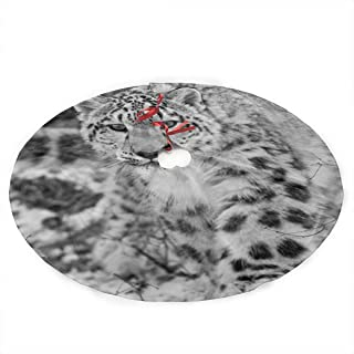 LALABULU Christmas Tree Skirt 35.5 Inches Xmas Tree Skirt Funny Snow Leopard Animals Christmas Decorations Indoor Outdoor