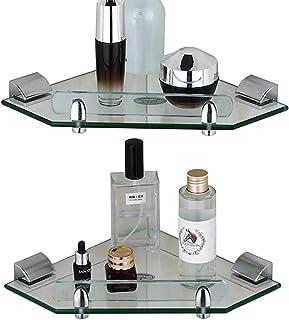YWH-WH Bathroom shelf Corner shelf for bathroom Glass shelf Wall shelf for storage 2 layers stainless steel shower frame