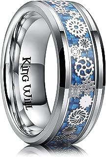King Will Mens 8mm Titanium Ring Gearwheel Light Blue Carbon Fiber Inlay Wedding Band