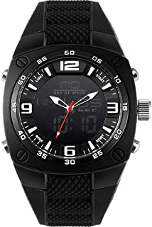 Men's Sports Analog Quartz Watch Dual Display Waterproof Digital Watches with LED Backlight relogio Masculino El Movimiento de Los relojes- Black