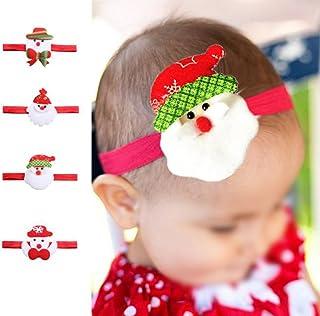 Bullidea 4Pcs Cute Baby Girls Turban Christmas Headbands Hair Clips Colorful Cotton Cloth Hair Wraps Santa Claus Style Hairbands Set for Toddler Kids