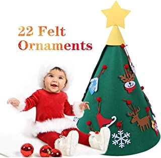 3D DIY Felt Christmas Tree with Hanging Ornaments, Xmas Gifts for Kids Christmas Decorations