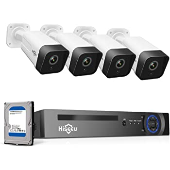 Hiseeu 5MP PoE Security Camera System,8CH PoE NVR with Face Detect,1TB Hard Drive, 4Pcs 5MP IP Outdoor Security Camera,1-Way Audio,H.265+ Wired Home Surveillance Kit No Monthly Fee