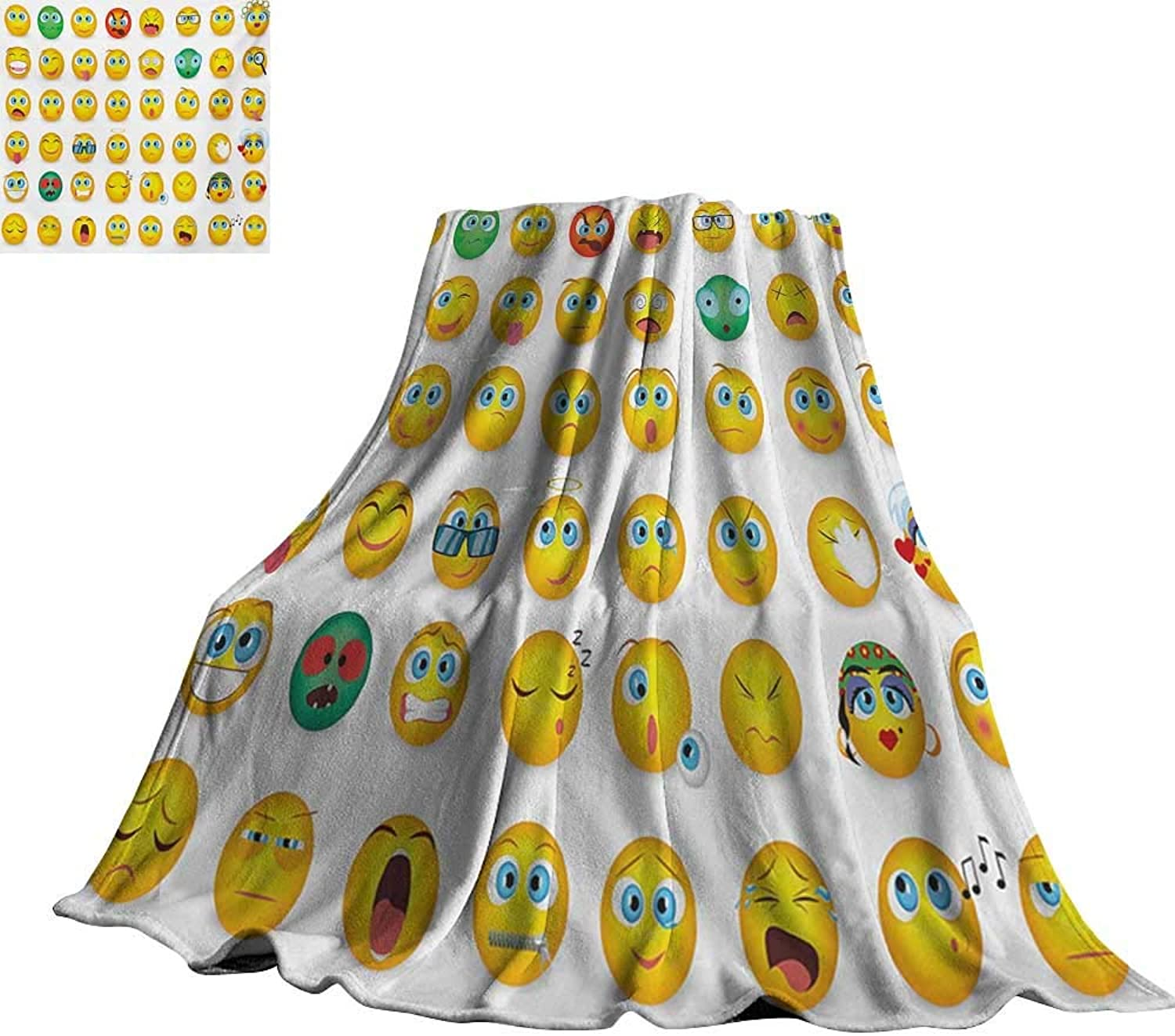 RenteriaDecor Emoji,Fashion Warm All Season Blanket Cartoon Like Smiley Faces of Mosters Girls Couple Happy Sad Angry Furious Moods Print for Couch Bed Living Room 60 x50