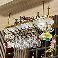 家の装飾2層の調節可能な高さの天井のワインラック、バーキッチンクラブ用のカップホルダーボトルオーガナイザー付き-ステンレス鋼クローム仕上げラック