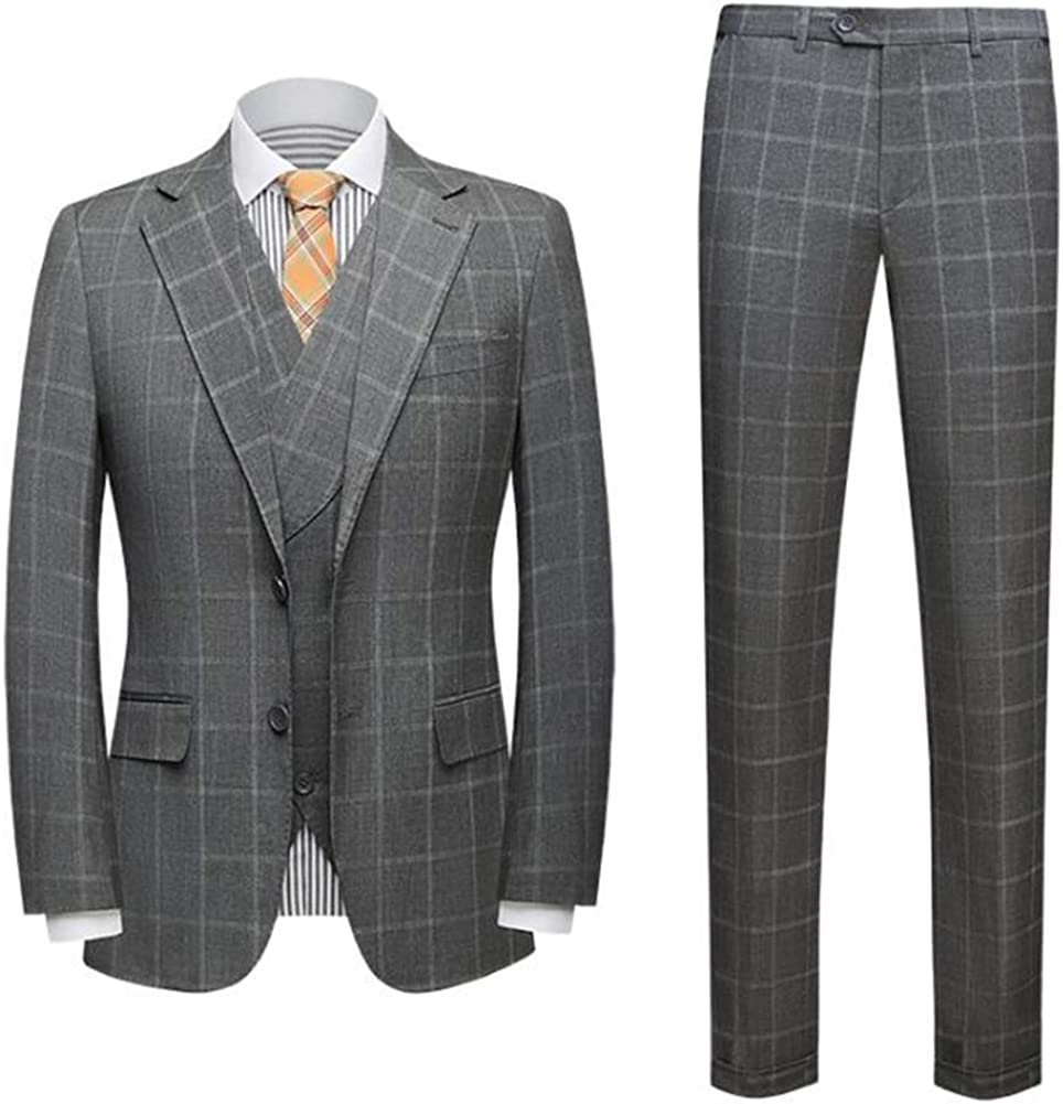 Men's Peak Lapel Grey Plaid 3 Pieces Business Suit Slim Fit Wedding Groom Tuxedo Suit