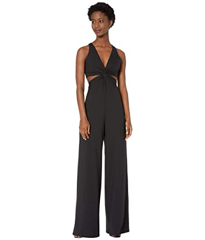 Susana Monaco Thin Strap Twisted Waist Jumpsuit (Black) Women