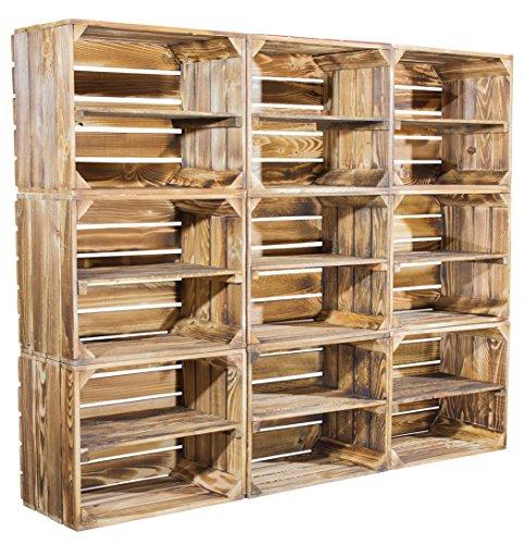 Cassette in legno fiammato con separatore, da usare anche come scarpiera o come libreria, set da 9 pezzi