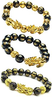 Feng Shui Bracelet Black Obsidian Golden Mantra Bead Hand Carved with Golden Pi Xiu Pi Yao and Copper Coins Bead Good Luck...