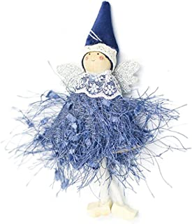 Christmas Ornament Lovely Woolen Yarn Angel Doll Pendant Xmas Tree Hanging Decoration for Holiday Season Home Party Club Festival - Blue
