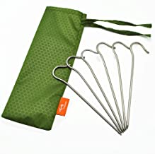 TiTo Titanium Shepherd's Hook Tent Stakes Dia 3.0mm and Length 165mm only 6.1G.(Pack of 6)