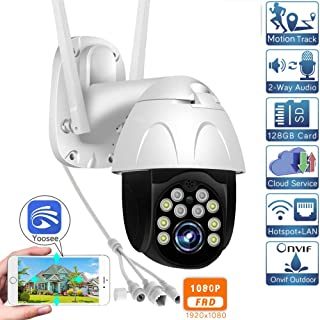 1080p WiFi PTZ Camera Auto Tracking Speed Dome Camera Outdoor SD Card Cloud CCTV Video Surveillance Wireless IP Camera Yoosee 1080P-12V 2A(32GB)