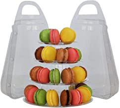Kehuashina 1PCS 4-TIER FRENCH MACARON TOWER WITH CARRYING CASE SET, FOOD-SAFE CLEAR PLASTIC