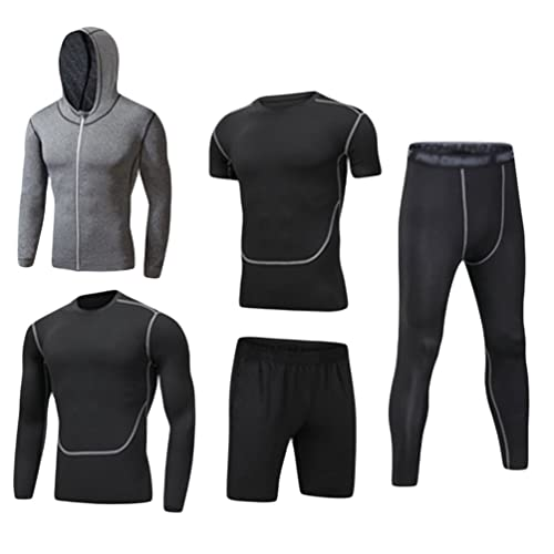 e7395a52c6c Dooxi Mens 5pcs Sports Gym Fitness Clothing Set Hoodies Jackets+Long  Sleeve+Short Sleeve