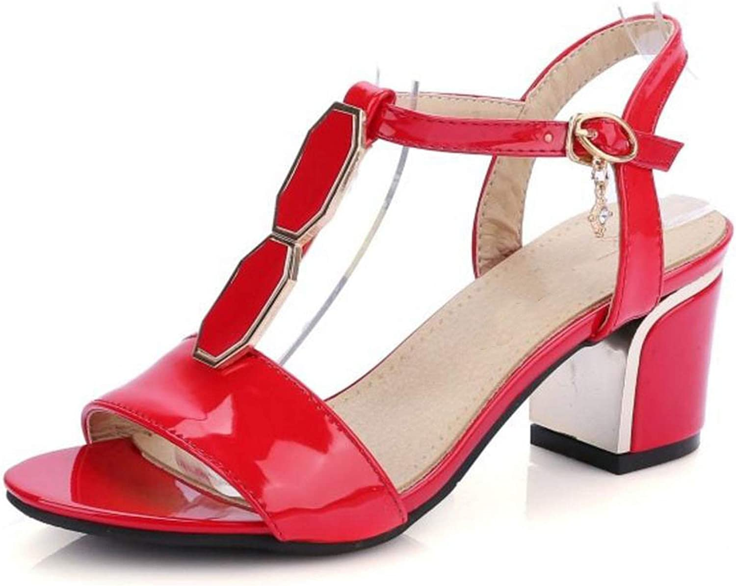 Fairly shoes Squared Heels Thin Belt Patent Leather Summer shoes Fashion Sexy shoes,Red,7
