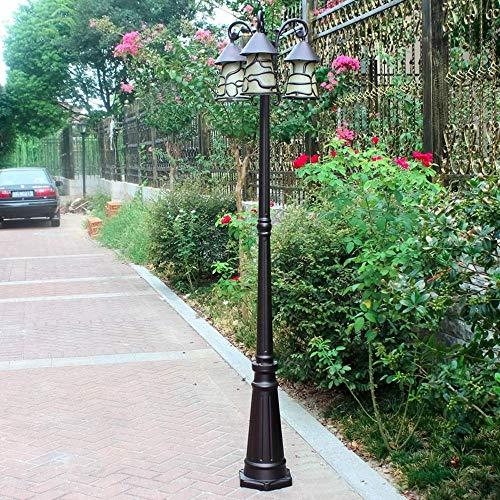 Roestvrij, voor buiten, kroonluchter, antieke look, lampenkap, glas, villa, decoratie voor gazon, garage, terras, vijver, verlichting straat, veiligheid spotlight (E27 x 3, hoogte 200 cm)