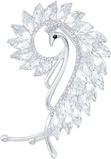 Elegant Peacock Ear Cuff Art Deco Crystal Ear Wrap Hypoallergenic No Piercing Earrings for Left Ear