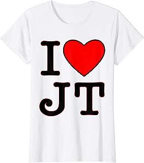 Womens I love JT heart funny JT gift t-shirt