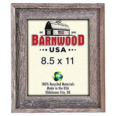 BarnwoodUSA 8.5 x 11 Inch Signature Picture Frame - 100% Reclaimed Wood, Weathered Gray