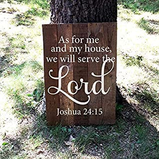 As for Me and My House We Will Serve The Lord Joshua 2415 Bible Verse Pallet Reclaimed Quote Sign Wood Hanging Plaque for Living Room