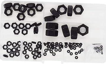 Hex Nuts Metric Thread Hexagon Coarse Nut Silver Tone Standard Fastener Hardware 113pcs Black Steel
