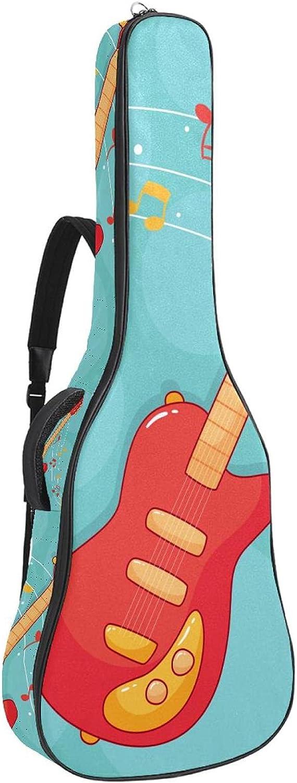 Funda De Guitarra Universal Nota De Guitarra De Dibujos Animados Acolchada (10Mm) Para Guitarra Acústica Y Clásica Super Grueso Impermeable 109x43x12cm