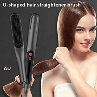 Ionic Hair Straightener Brush, Hamkaw LCD Display Electric Hot Comb 3 Adjustable Temperatures Negative Ionic Anti Frizz Ceramic Hair Straightening Brush for Women, 100-240V Travel Dual Voltag